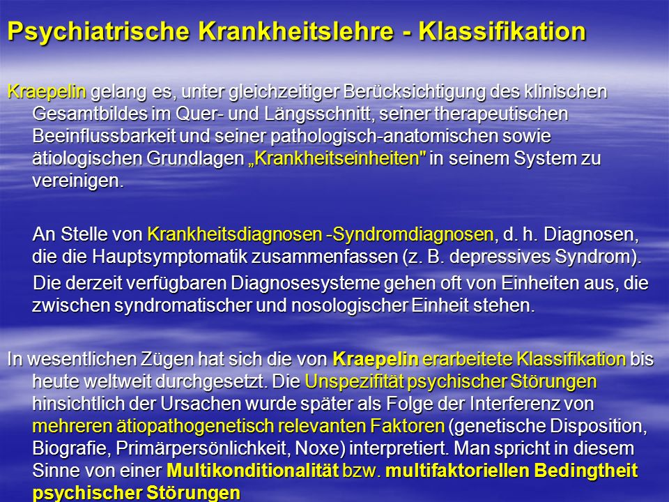 Psychiatrische Krankheitslehre - Klassifikation