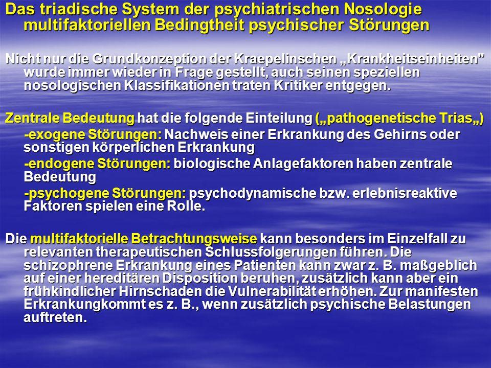 Das triadische System der psychiatrischen Nosologie multifaktoriellen Bedingtheit psychischer Störungen