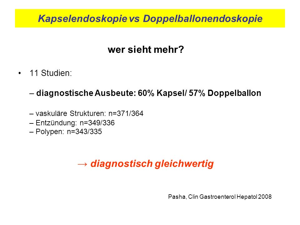 Kapselendoskopie vs Doppelballonendoskopie