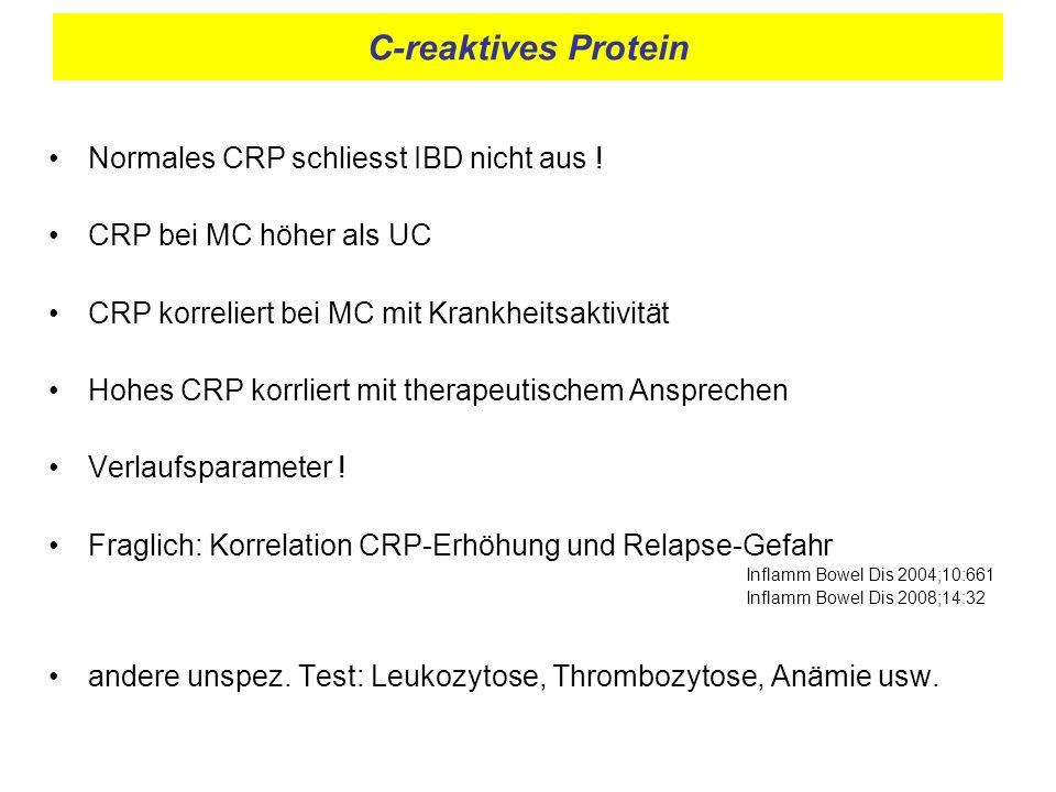 C-reaktives Protein Normales CRP schliesst IBD nicht aus !
