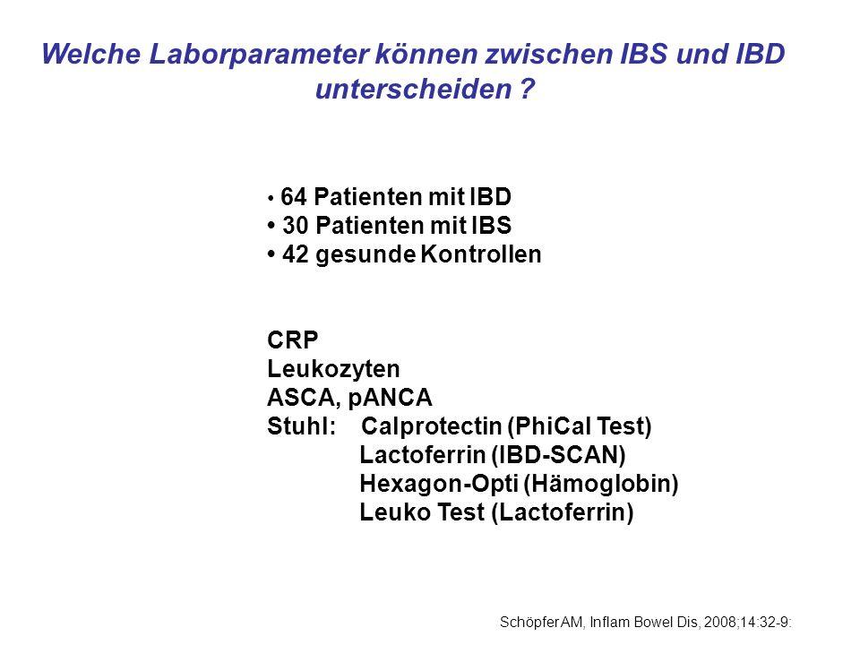 Welche Laborparameter können zwischen IBS und IBD unterscheiden