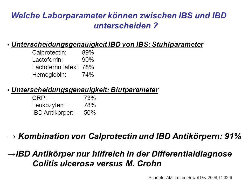 → Kombination von Calprotectin und IBD Antikörpern: 91%
