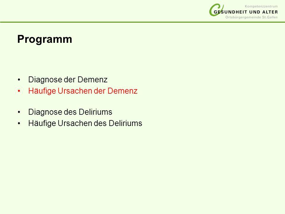 Programm Diagnose der Demenz Häufige Ursachen der Demenz