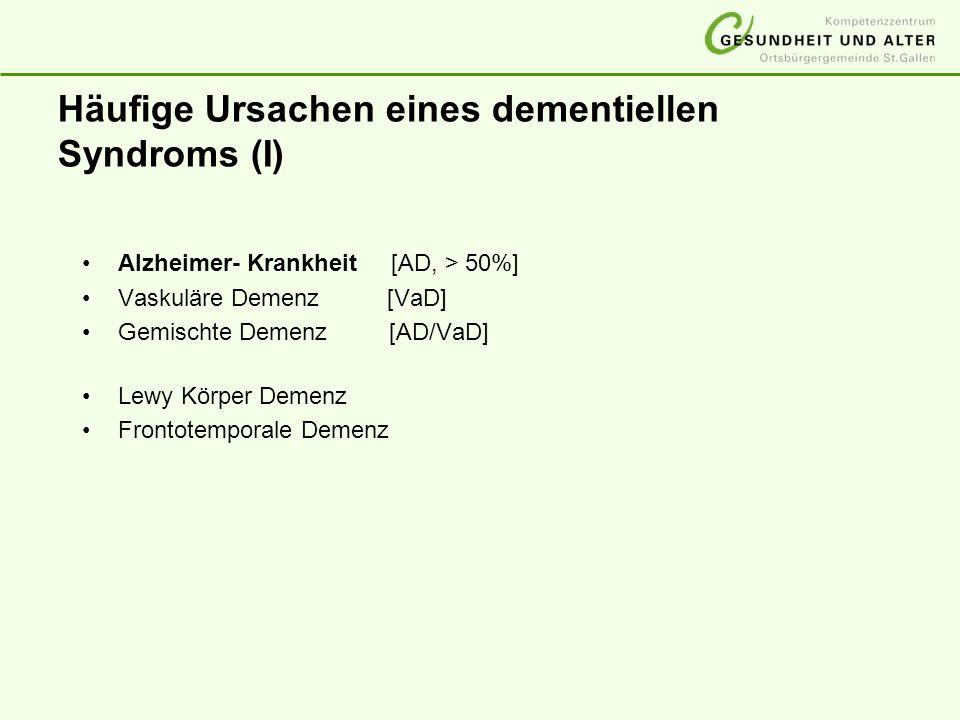 Häufige Ursachen eines dementiellen Syndroms (I)