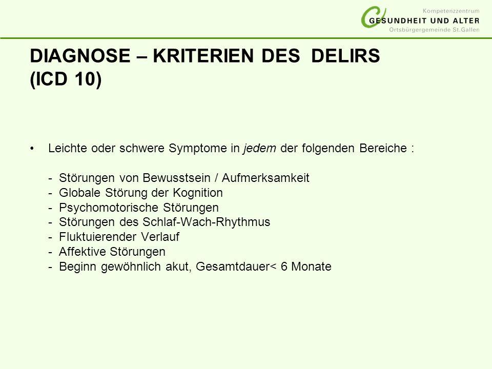 DIAGNOSE – KRITERIEN DES DELIRS (ICD 10)