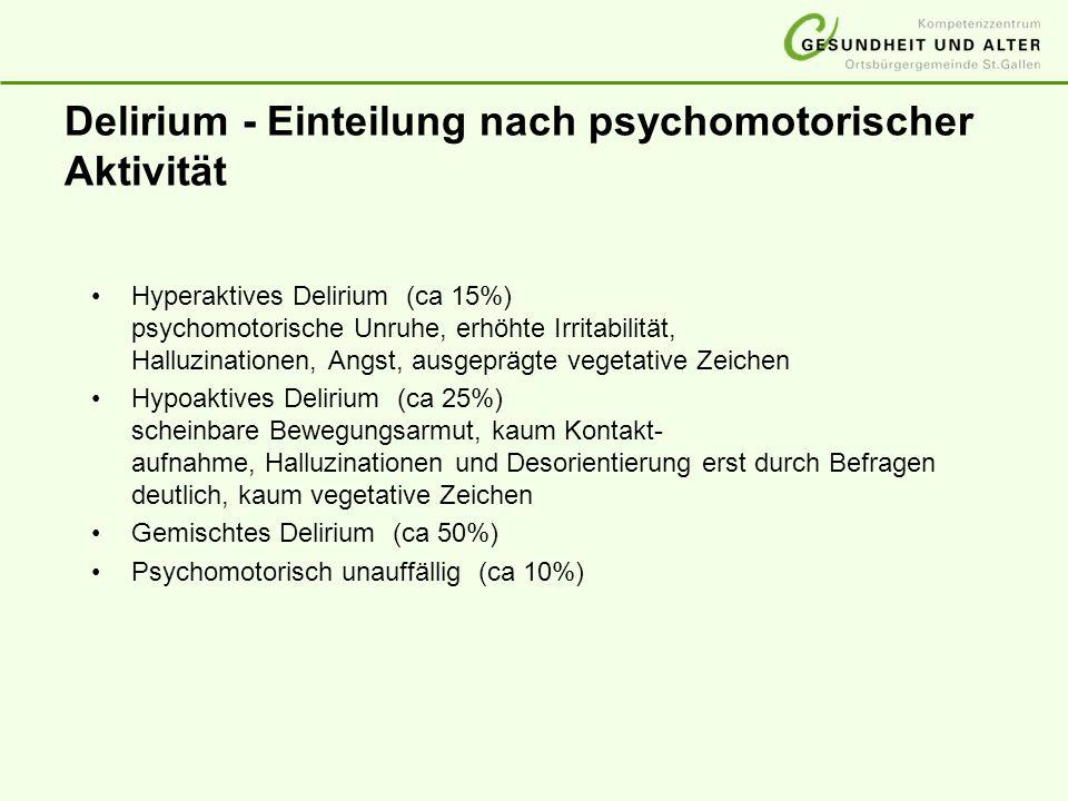 Delirium - Einteilung nach psychomotorischer Aktivität