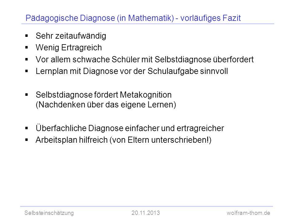 Pädagogische Diagnose (in Mathematik) - vorläufiges Fazit