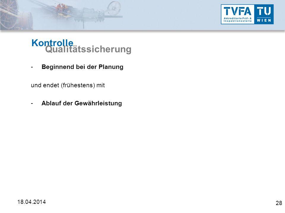 Kontrolle Qualitätssicherung Beginnend bei der Planung
