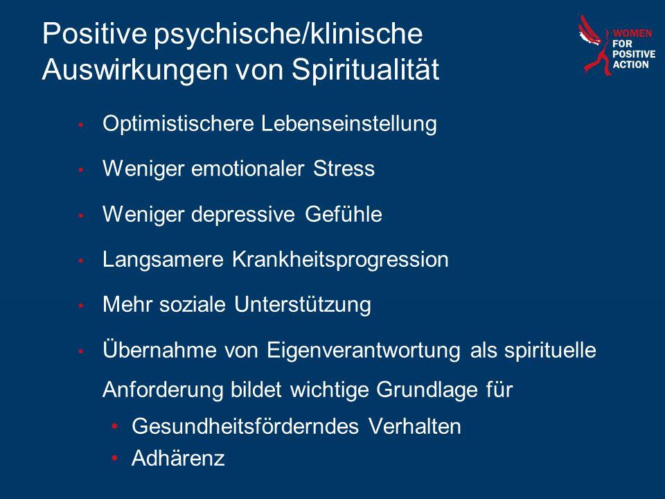 Positive psychische/klinische Auswirkungen von Spiritualität