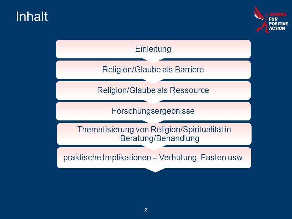 Inhalt Einleitung Religion/Glaube als Barriere