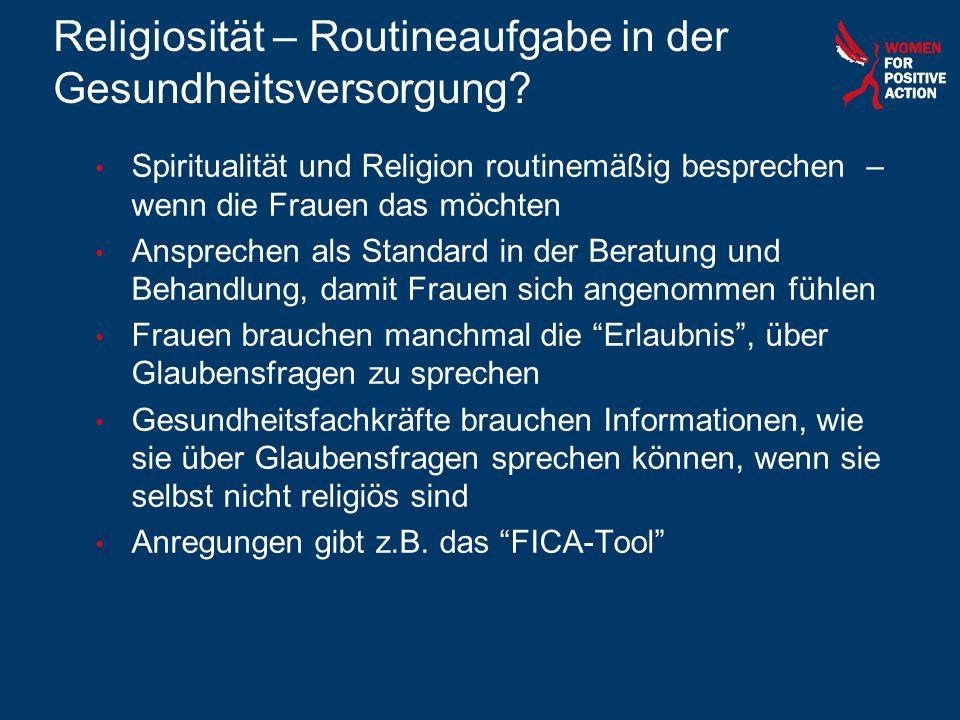 Religiosität – Routineaufgabe in der Gesundheitsversorgung