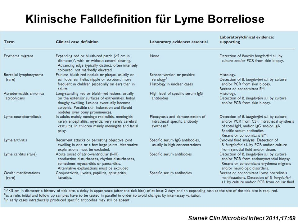 Klinische Falldefinition für Lyme Borreliose