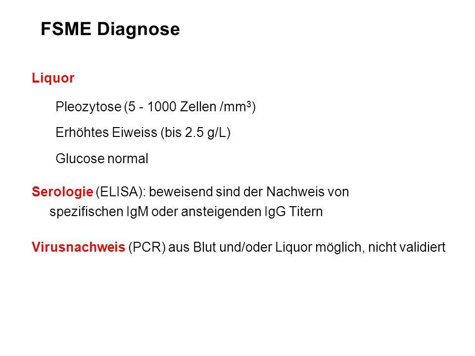 FSME Diagnose Liquor Pleozytose (5 - 1000 Zellen /mm3)