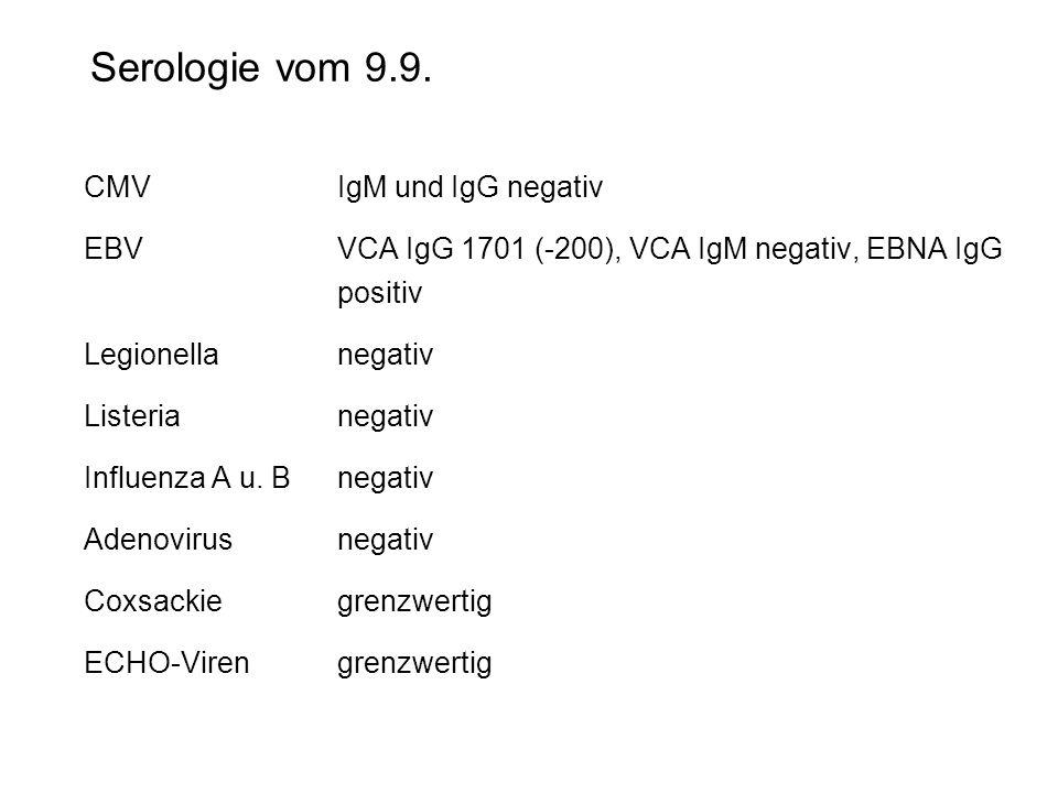 Serologie vom 9.9. CMV IgM und IgG negativ