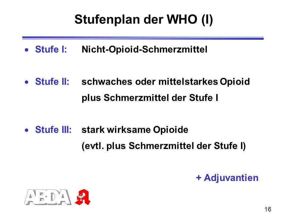 Stufenplan der WHO (I) Stufe I: Nicht-Opioid-Schmerzmittel