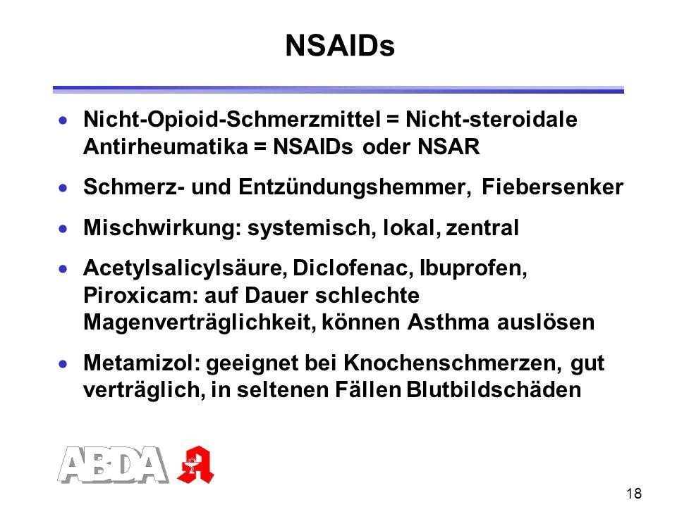 NSAIDs Nicht-Opioid-Schmerzmittel = Nicht-steroidale Antirheumatika = NSAIDs oder NSAR. Schmerz- und Entzündungshemmer, Fiebersenker.