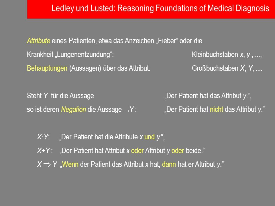 Ledley und Lusted: Reasoning Foundations of Medical Diagnosis