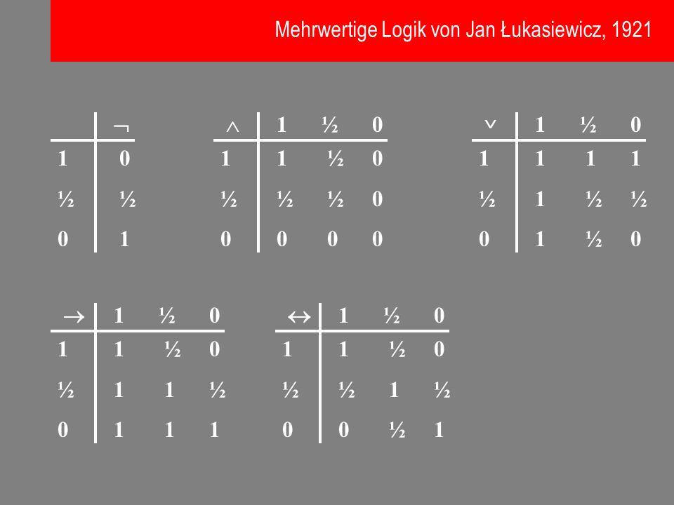 Mehrwertige Logik von Jan Łukasiewicz, 1921
