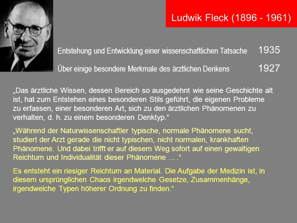 Ludwik Fleck (1896 - 1961) 1935. Entstehung und Entwicklung einer wissenschaftlichen Tatsache.