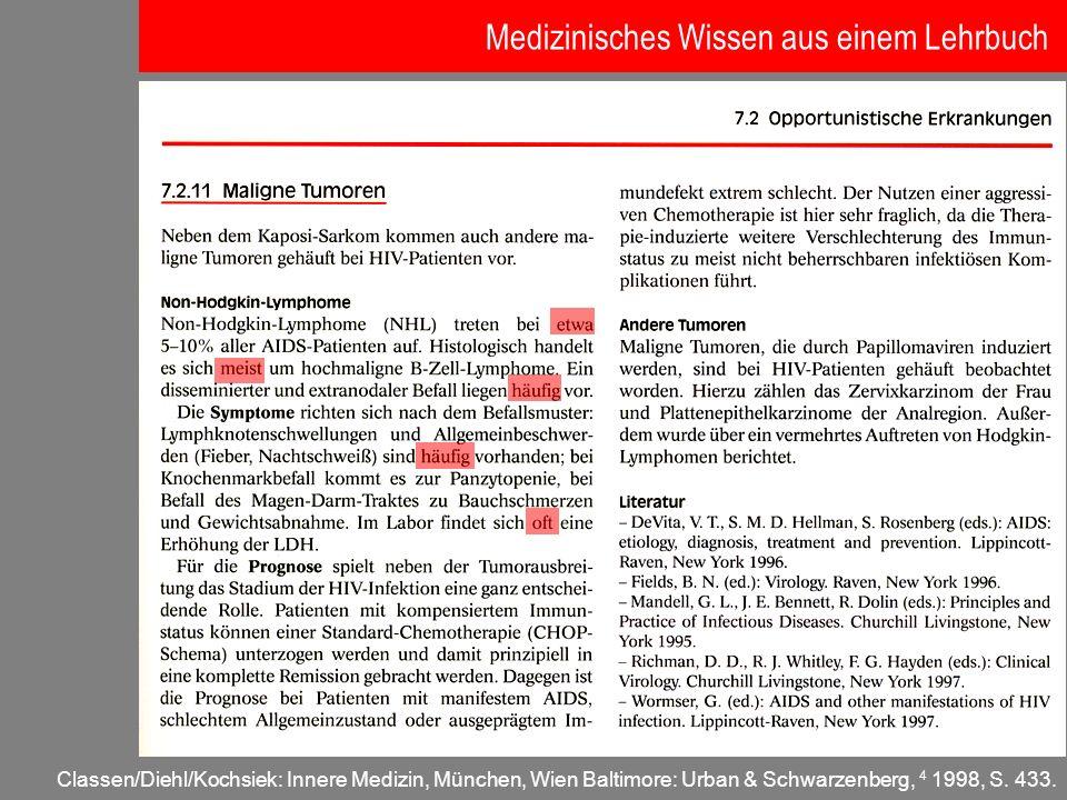 Medizinisches Wissen aus einem Lehrbuch
