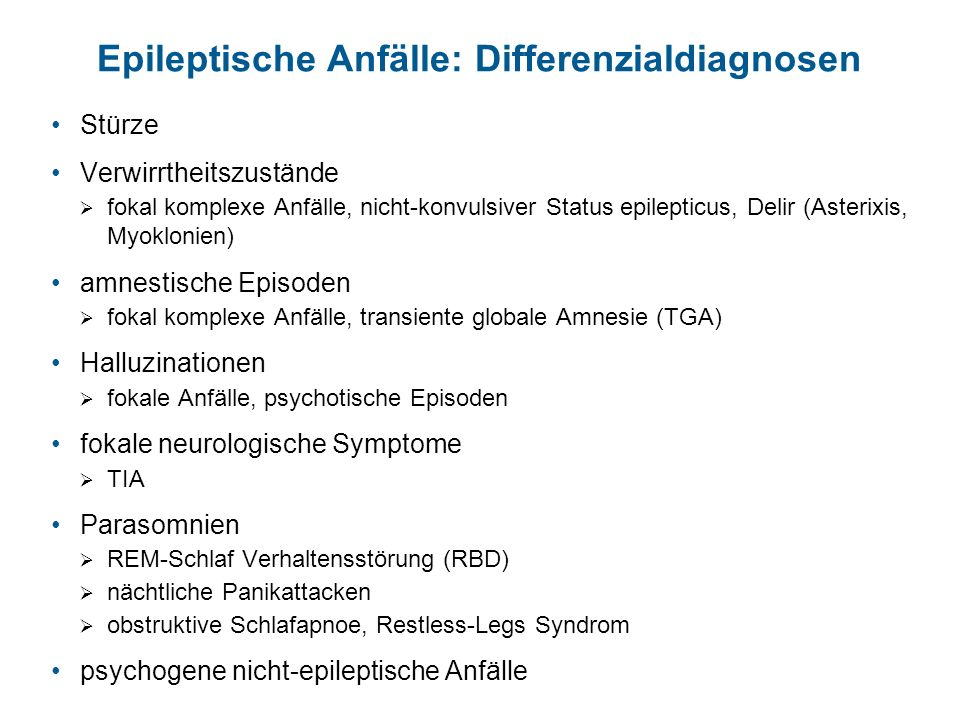 Epileptische Anfälle: Differenzialdiagnosen