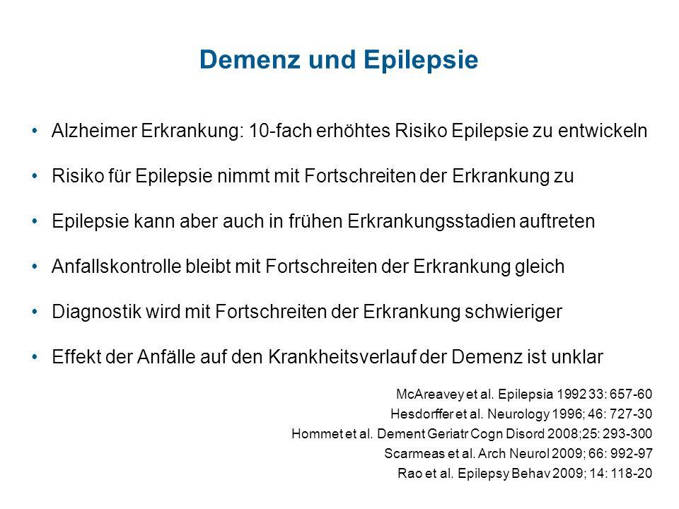 Das ist eine Kopfzeile Demenz und Epilepsie. Alzheimer Erkrankung: 10-fach erhöhtes Risiko Epilepsie zu entwickeln.