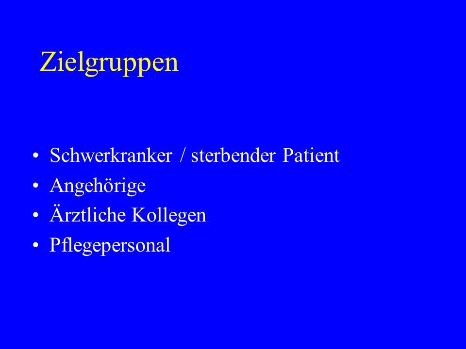 Zielgruppen Schwerkranker / sterbender Patient Angehörige