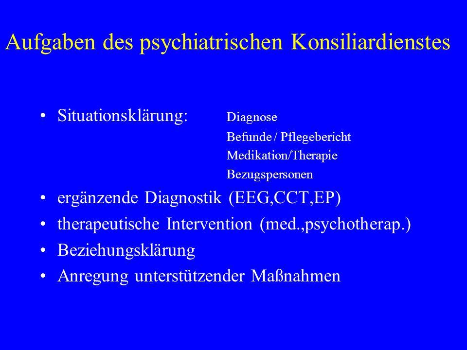 Aufgaben des psychiatrischen Konsiliardienstes