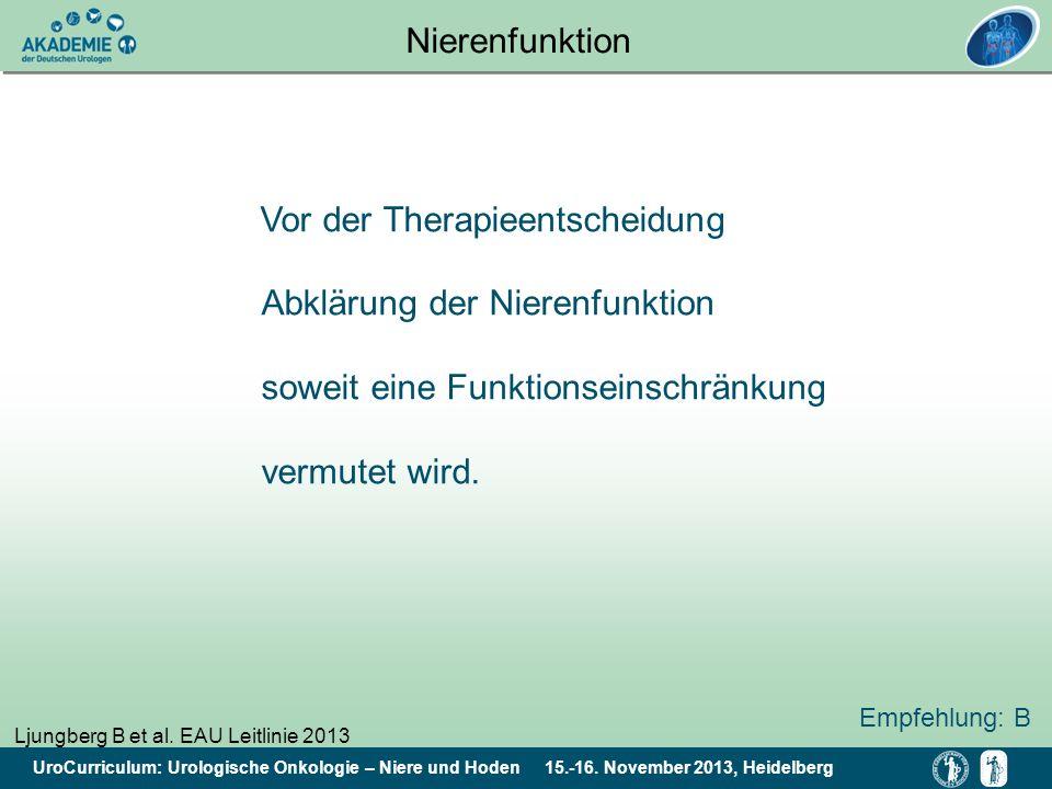 Nierenfunktion Vor der Therapieentscheidung Abklärung der Nierenfunktion soweit eine Funktionseinschränkung vermutet wird.