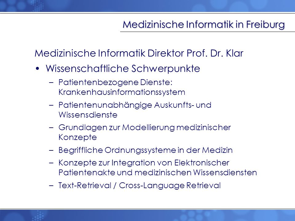 Medizinische Informatik in Freiburg