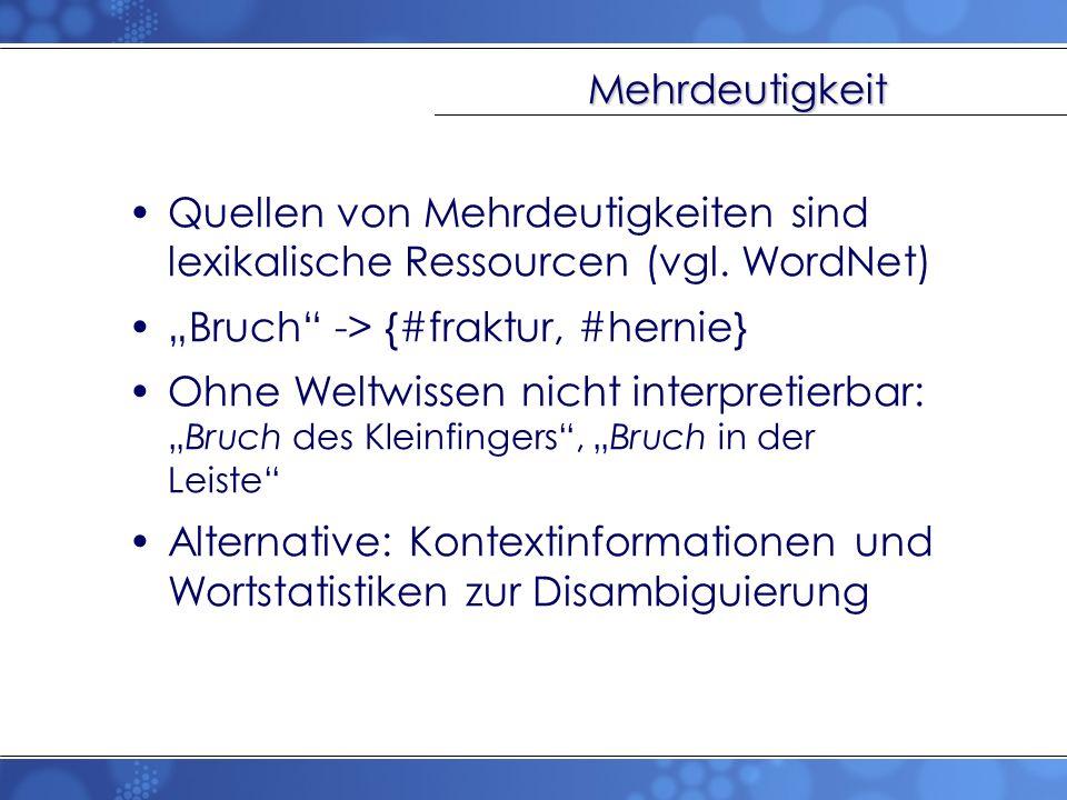 """Mehrdeutigkeit Quellen von Mehrdeutigkeiten sind lexikalische Ressourcen (vgl. WordNet) """"Bruch -> {#fraktur, #hernie}"""