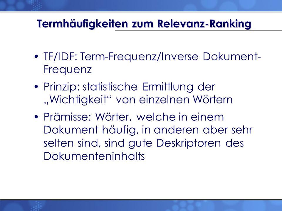 Termhäufigkeiten zum Relevanz-Ranking