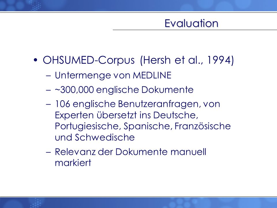 OHSUMED-Corpus (Hersh et al., 1994)