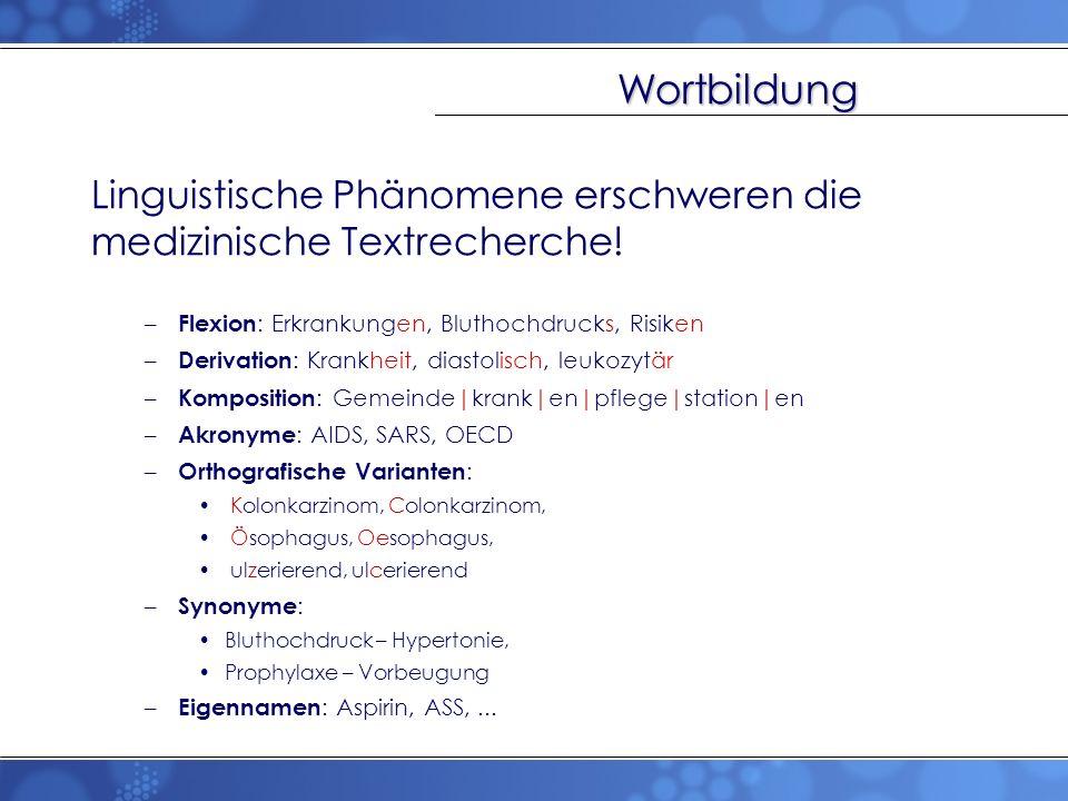 Wortbildung Linguistische Phänomene erschweren die medizinische Textrecherche! Flexion: Erkrankungen, Bluthochdrucks, Risiken.
