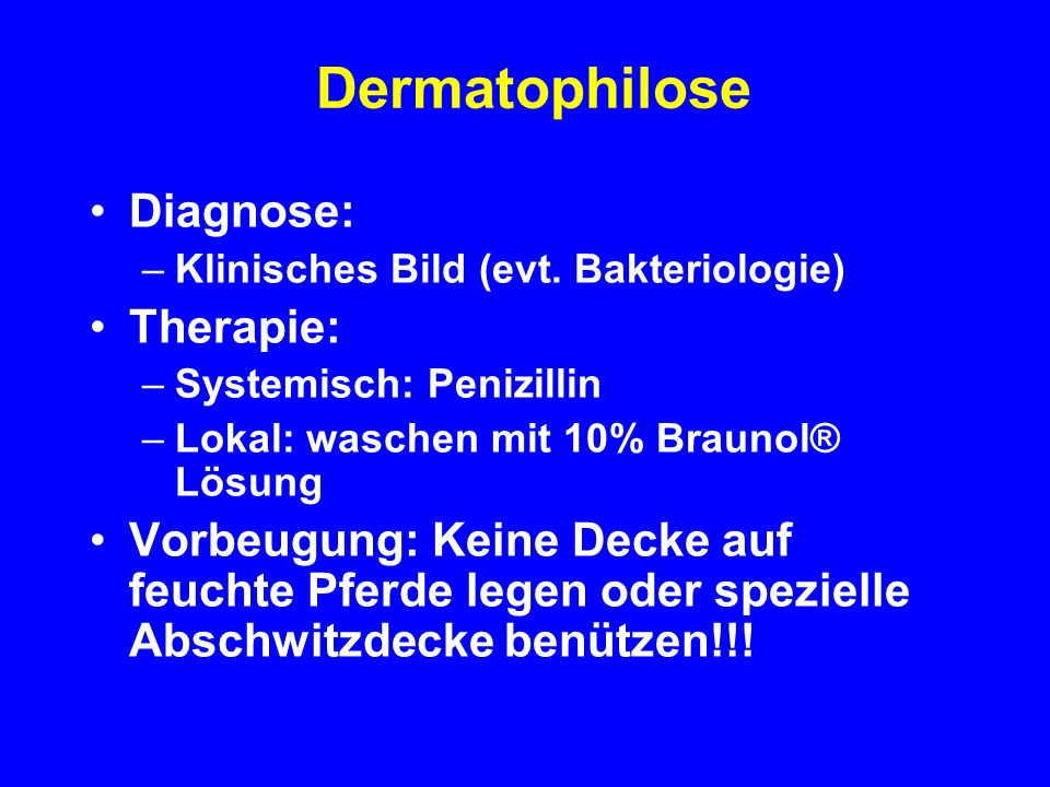 Dermatophilose Diagnose: Therapie: