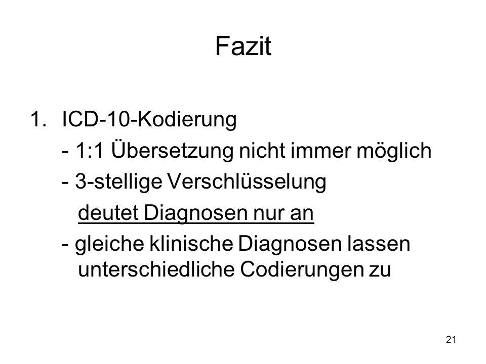Fazit ICD-10-Kodierung - 1:1 Übersetzung nicht immer möglich