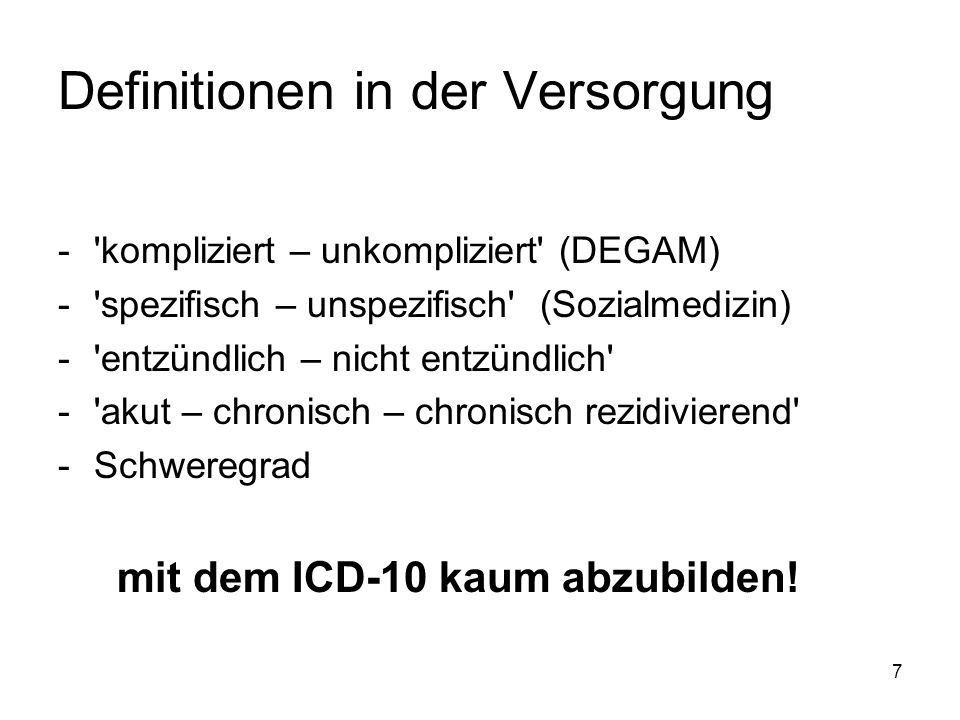 Definitionen in der Versorgung