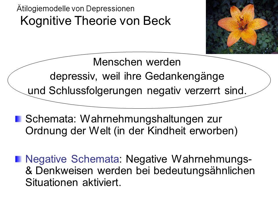 Ätilogiemodelle von Depressionen Kognitive Theorie von Beck