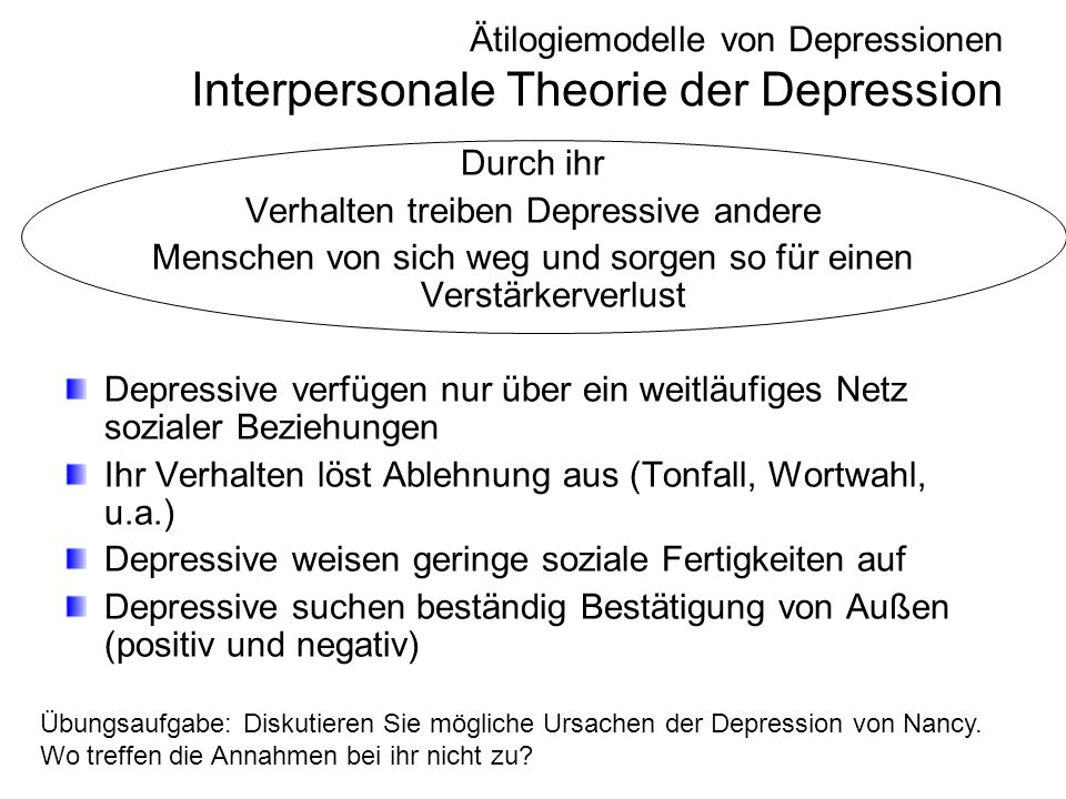 Ätilogiemodelle von Depressionen Interpersonale Theorie der Depression