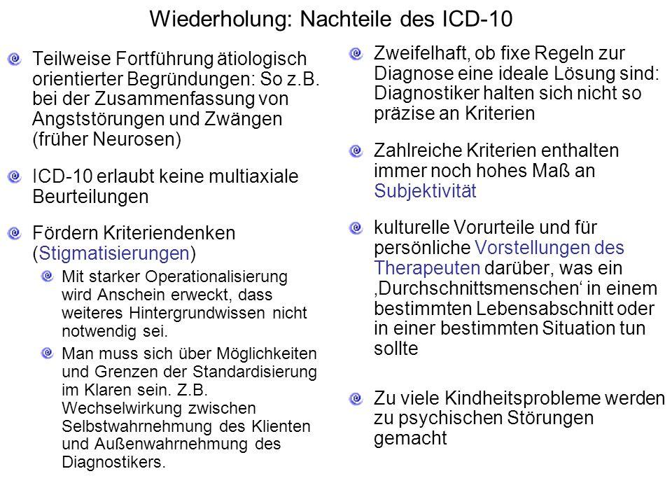 Wiederholung: Nachteile des ICD-10