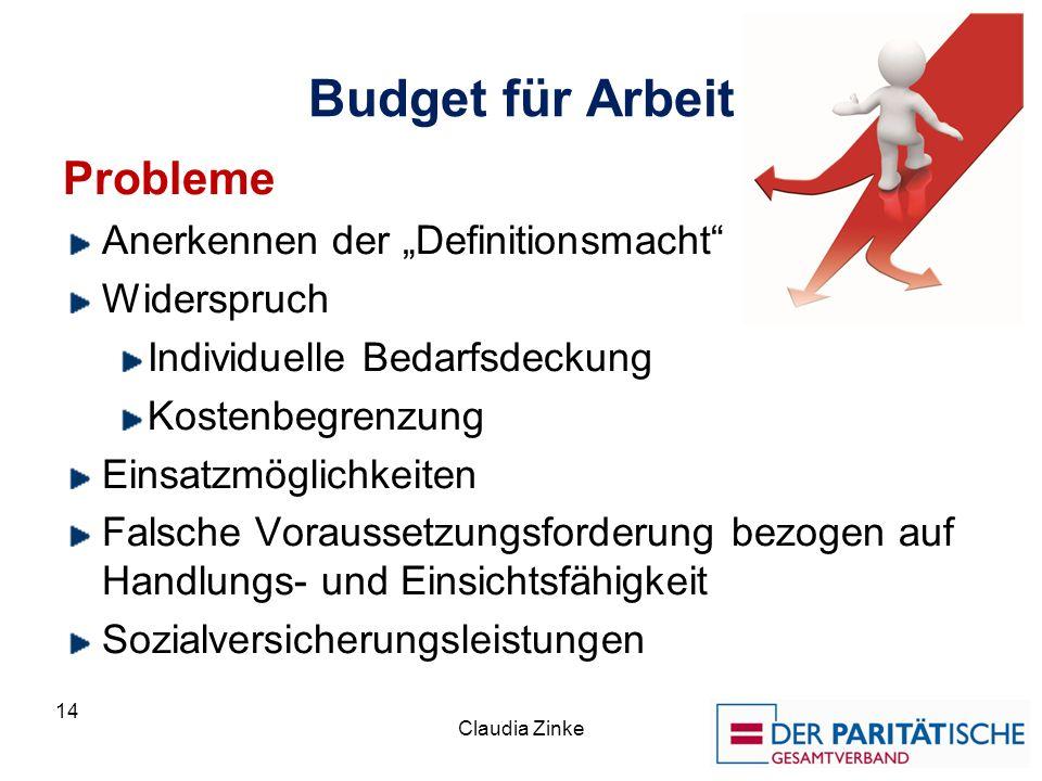 """Budget für Arbeit Probleme Anerkennen der """"Definitionsmacht"""
