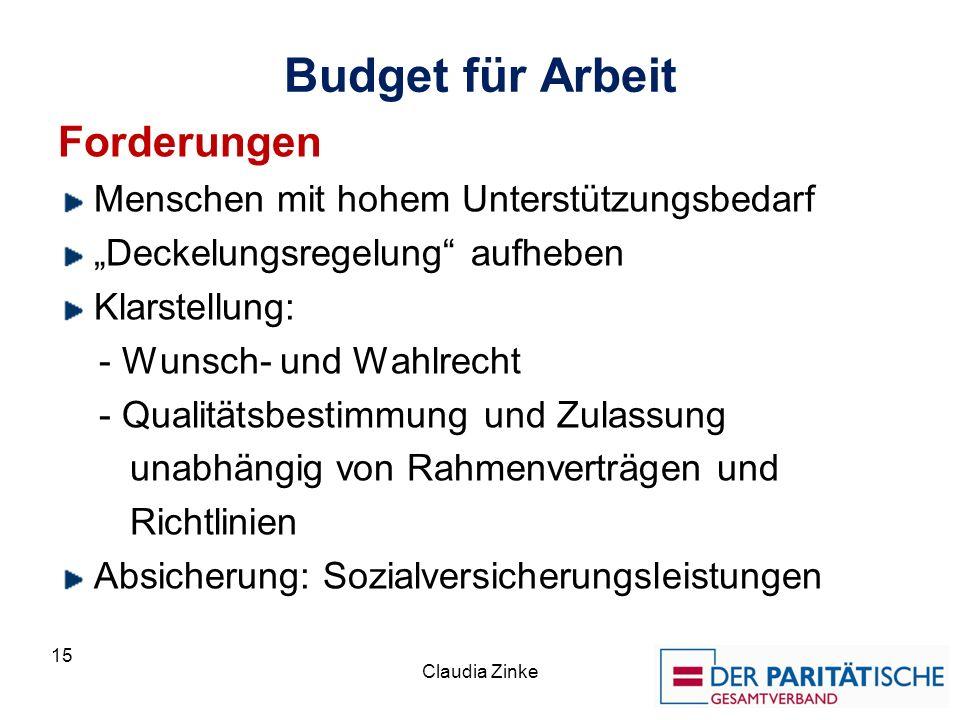 Budget für Arbeit Forderungen Menschen mit hohem Unterstützungsbedarf