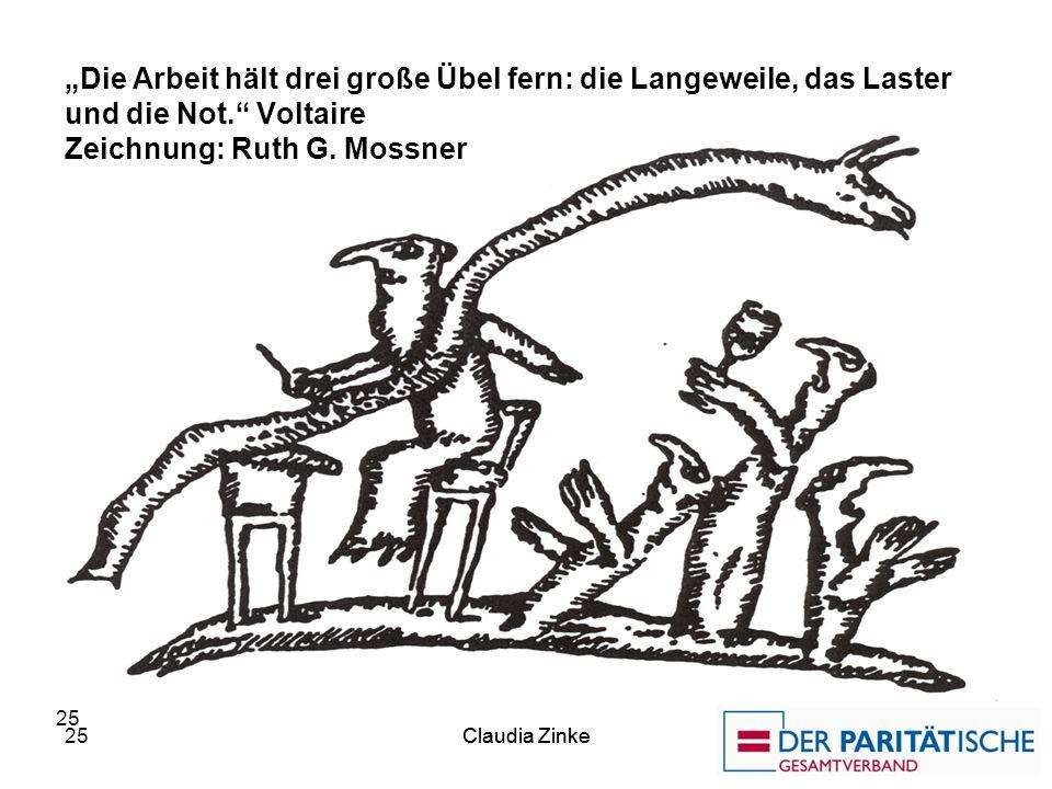 """""""Die Arbeit hält drei große Übel fern: die Langeweile, das Laster und die Not. Voltaire Zeichnung: Ruth G. Mossner"""
