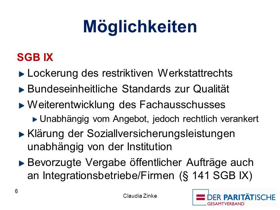 Möglichkeiten SGB IX Lockerung des restriktiven Werkstattrechts