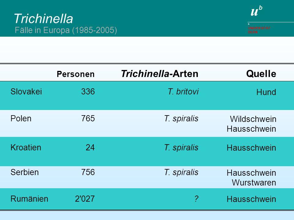 Trichinella Trichinella-Arten Quelle Fälle in Europa (1985-2005)