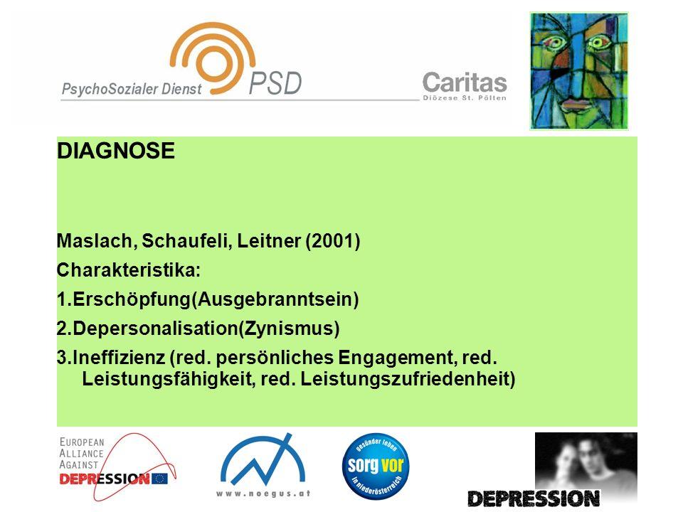 DIAGNOSE Maslach, Schaufeli, Leitner (2001) Charakteristika: