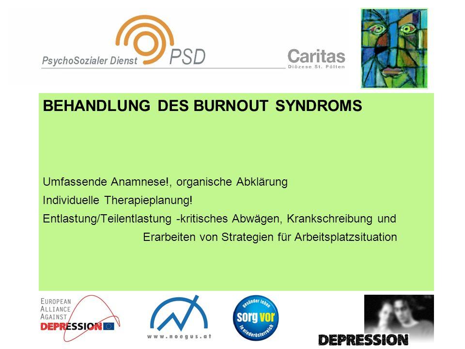 BEHANDLUNG DES BURNOUT SYNDROMS