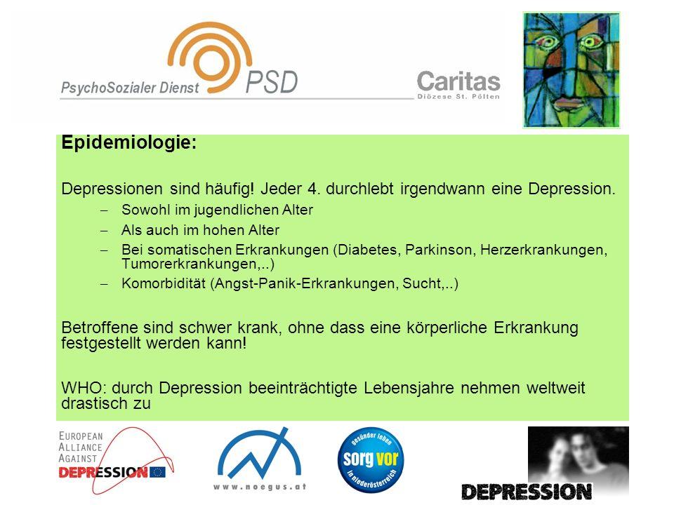 Epidemiologie: Depressionen sind häufig! Jeder 4. durchlebt irgendwann eine Depression. Sowohl im jugendlichen Alter.