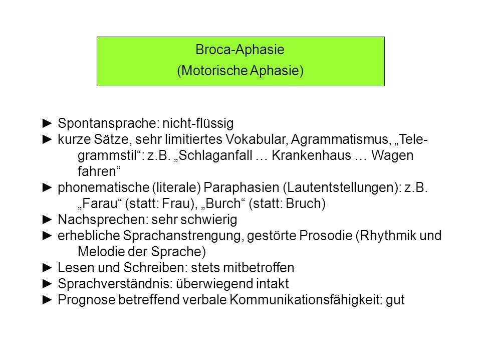 """Broca-Aphasie (Motorische Aphasie) ► Spontansprache: nicht-flüssig. ► kurze Sätze, sehr limitiertes Vokabular, Agrammatismus, """"Tele-"""