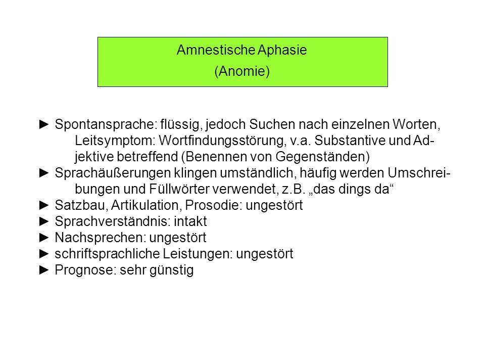 Amnestische Aphasie (Anomie) ► Spontansprache: flüssig, jedoch Suchen nach einzelnen Worten,